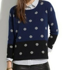 Madewell polka dot color block sweater